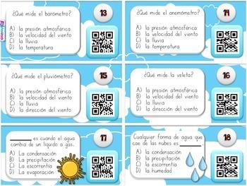 Weather El Clima SPANISH QR Code Task Cards