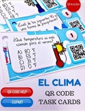 Weather El Clima SPANISH QR Code Task Cards