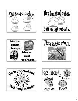 Weather (El Tiempo) Flash Cards/Bulletin Board in Spanish & English!