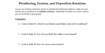 Weather, Erosion, Depostion Lesson Plan with Worksheet and Powerpoints
