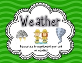 Weather Essential Questions, Vocabulary Mat, Word Wall Cards, and Sorts