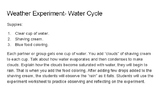 Weather Experiment- Water Cycle for 2nd Graders
