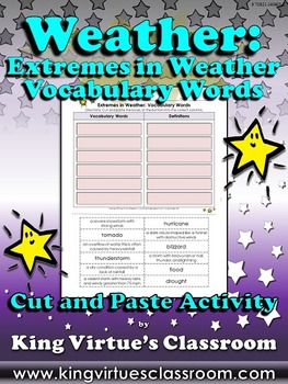 Weather: Extremes in Weather Vocabulary Words Cut and Past