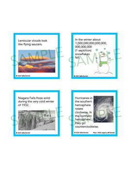 Weather Unit Activity - Fun Fact Cards for Games, Bulletin Board