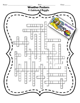 Weather Factors & Patterns - Crossword Puzzle
