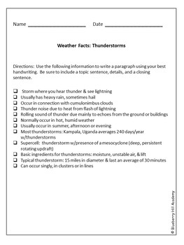Weather Facts Notes to Paragraphs