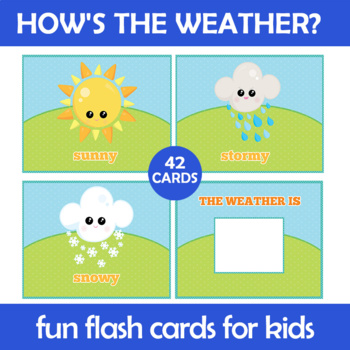 Weather Flash Cards Instant Download PDF; Preschool, Kinde