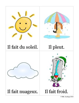 graphic about Printable French Flashcards identified as Temperature Flashcards (French) - Le temps