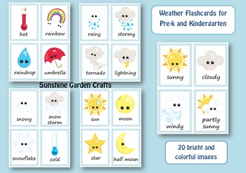 Weather Flashcards for Pre-k and Kindergarten (20 images/
