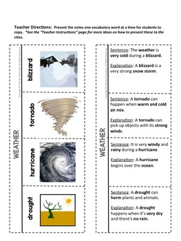Weather Vocabulary Interactive Notebook