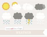 Weather Forecast Clipart; Storm, Cloud, Rain, Sun