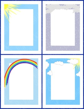 Weather Frames Clip Art PNG JPG Commercial or Personal Rain Sun Clouds Rainbow
