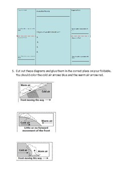 Weather Fronts Foldable w/ follow up Questions