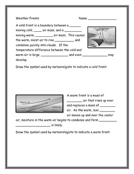 Weather Fronts Worksheet by Annette Hoover | Teachers Pay Teachers