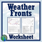 Weather Fronts Weather Maps Worksheet Middle School MS-ESS2-5