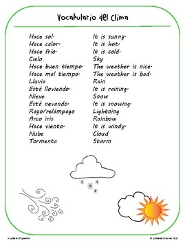 Weather Game Cards in Spanish