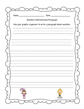 Weather Graphic Organizer and Informational Writing Activity w/ Lined Paper