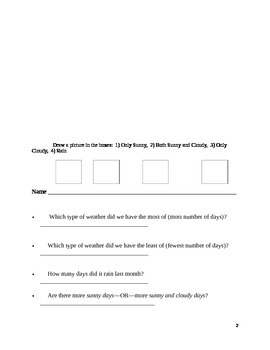 Weather Graphing Part 2/Completing a Bar Graph and Answering Questions