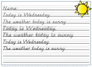 Weather Hand Writing, Observation, and Chart Practice