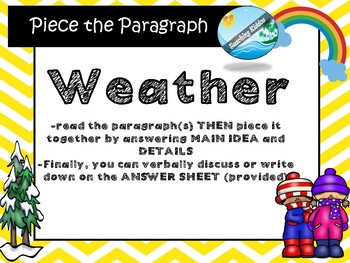 Weather  INFORMATIONAL TEXT /  MAIN IDEA with  puzzle game