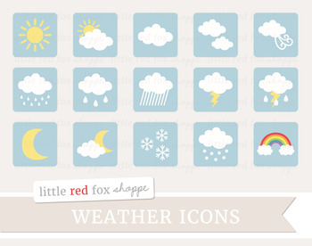 Weather Icon Clipart; Sun, Cloud, Rain, Moon