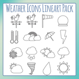 Weather Icons Black and White Line Art / Clip Art Pack for Commercial Use