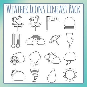 Weather Icons Black and White Line Art / Clip Art Pack for