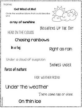 Weather Idioms FREEBIE