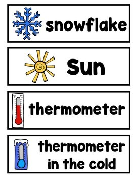 Weather Images Picture Word Card Mini-Set For Kindergarten