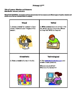 Weather Individualized Lesson Plan
