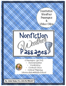 Weather Informational Text Passages for Middle School