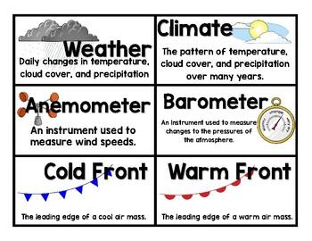 Weather Instrument Bulletin Board Vocabulary & Student Flip-book Printables