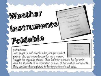 Weather Instrument Flip-Book Foldable with Rubric