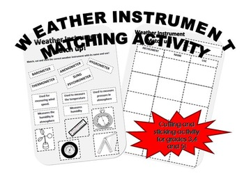 Weather Instrument Match Cut and Stick Activity