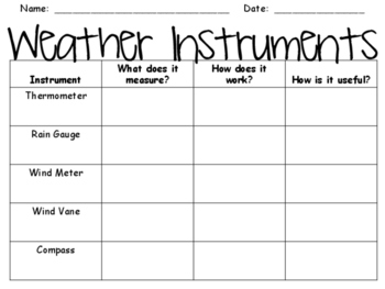 weather instruments graphic organizer by yay3rdgrade tpt. Black Bedroom Furniture Sets. Home Design Ideas