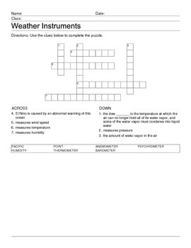 Weather Instruments Crossword