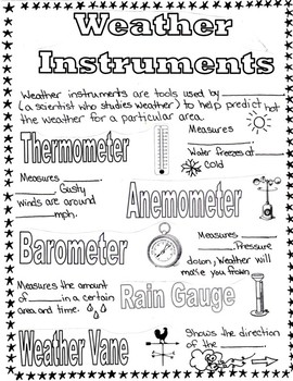 weather instruments fill in the blank anchor chart by liz in the classroom. Black Bedroom Furniture Sets. Home Design Ideas