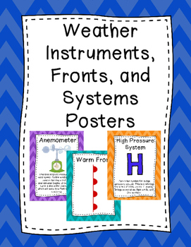Weather Instruments, Fronts, and Systems Posters