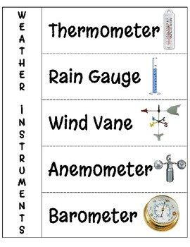weather instruments interactive notebook page by nicole squillante. Black Bedroom Furniture Sets. Home Design Ideas