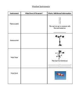 Weather Instruments Slideshow and Graphic Organizer