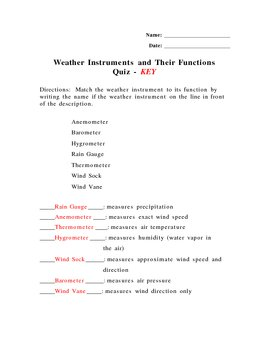 Weather Instruments & Their Functions Quiz