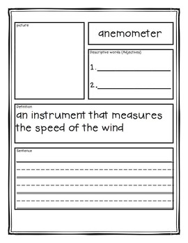 Weather Vocabulary Book Three: Weather Instruments Tiered Vocabulary Booklets