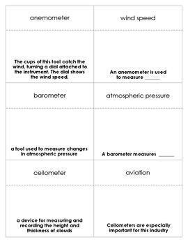 Weather Instruments Vocabulary Bingo