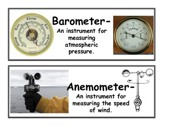 Weather Instruments Vocabulary Cards