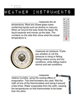 Weather Instruments Worksheet/Handout by Ms. Wagner | TpT