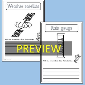 Weather Instruments-Posters, Informational Text, Worksheets, Cut/Paste, Displays