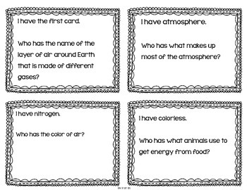 """Weather Interactive Vocabulary Game """"I Have, Who Has?"""" Cards"""