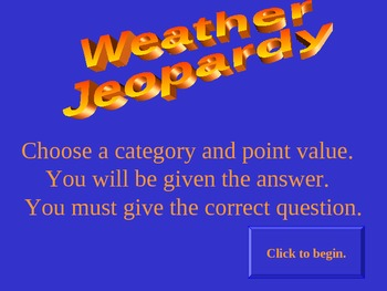 """Weather """"Jeopardy"""" PPT Review Game -- Middle School Science"""