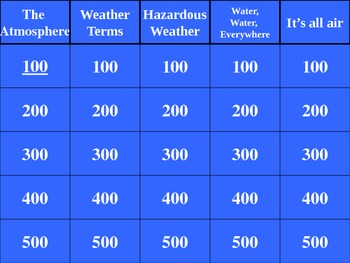 Weather Jepopardy Question and Answer Game Show Review Game