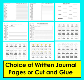 Weather Journal Activities for K/1: Writing and/or Graphing